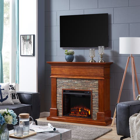 Harper Blvd Hennintol Faux Stone Electric Fireplace, Glazed Pine and Multicolored River Stone