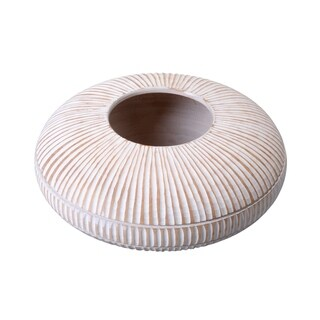 "Villacera Handmade Short Flat Mango Wood Vase 4"" x 10"" Diameter"