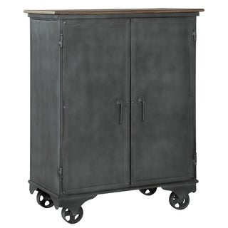 Howard Miller Bev Chest Vintage, Industrial, Old World Style, Foyer Liquor Wine Media Cabinet, Buffet, or Bar Cart on Castors
