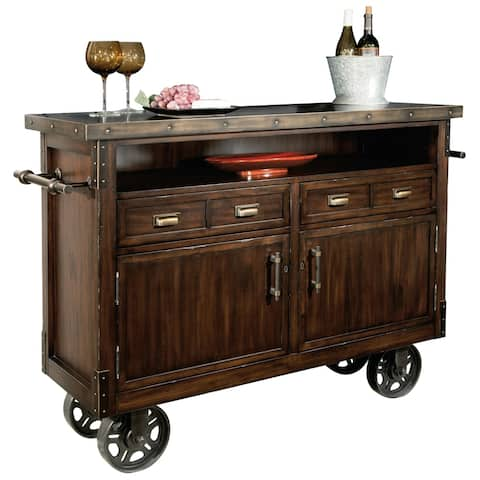 Howard Miller Hardwood Wheeled Bar Cart Liquor Cabinet - 40.25 inches x 56.25 inches x 19.5 inches