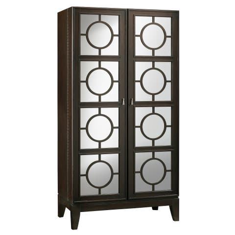 Howard Miller Barolo Tall, Mid-Century Modern Style, Vintage, and Sleek Foyer Liquor or Wine Cabinet, Occasional Storage Closet