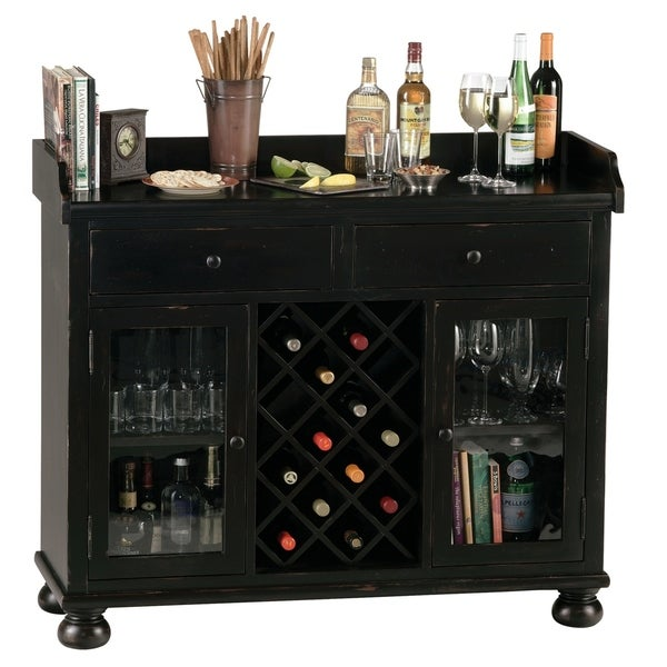 Howard Miller Cabernet Hills Solid Wood Liquor Sideboard Cabinet - 41 in. high x 48 in. wide x 17 in. deep. Opens flyout.