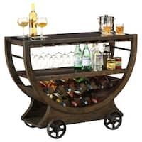 Howard Miller Happy Hour Brown Wood/ Veneer Liquor/ Wine Cabinet/ Sideboard/ Bar Cart with Castors