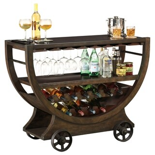 Howard Miller Happy Hour Charming, Vintage, Farmhouse Style, Foyer Liquor or Wine Cabinet, Sideboard, or Bar Cart with Castors
