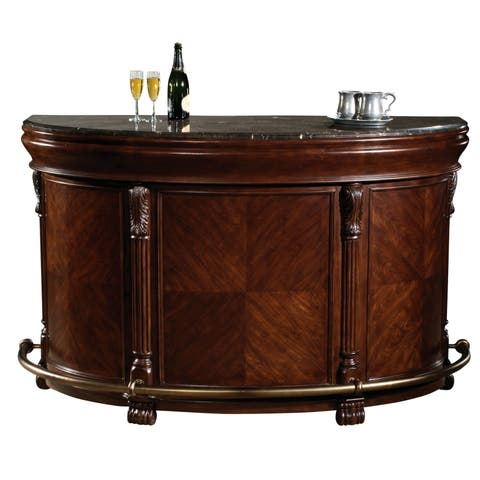Howard Miller Niagara Bar Elegant, Old-fashioned Vintage Style, Foyer Liquor or Wine Cabinet, Buffet, Bar Table with Foot Rails