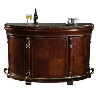 Howard Miller Niagara Cherry-finish Wood Wine Cabinet, Buffet, Bar Table with Foot Rails
