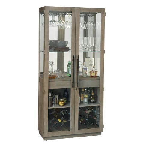 Howard Miller Chaperone Tall Sandy White Hardwood Liquor Cabinet - 80 in high x 38.5 in wide x 18.25 in deep
