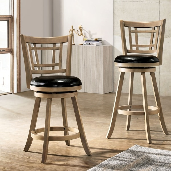 Furniture of America Vaza Transitional Solid Wood Swivel Bar Stool - Maple (As Is Item). Opens flyout.