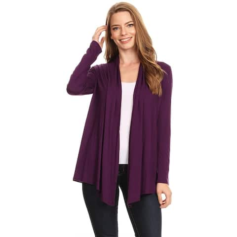Women's Solid Knit Lightweight Loose Fit Sweater Cardigan