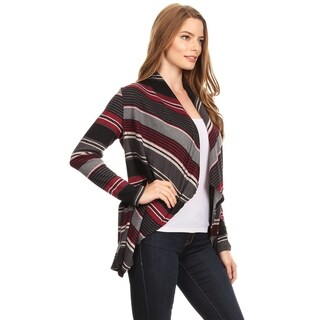 Women's Casual Striped Thick Knit Loose Sweater Cardigan