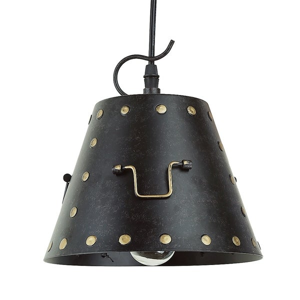 Industrial Caged Pendant With Rivets: Shop LNC 1-light Industrial Rivets Iron Ceiling Pendant