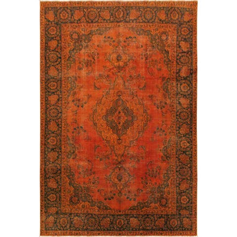 "Vintage Distressed Melia Orange/Blue Wool Rug - 7'3 x 10'3 - 7'3"" x 10'3"" - 7'3"" x 10'3"""