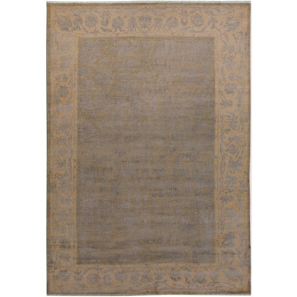 Peshawar Oswaldo Light Grey Ivory Wool And Silk Modern Rug 6 X27