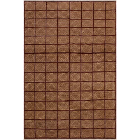 Modern Ziegler Lea Aubergine/Lt. Brown Wool Rug - 8'0 x 9'4 - 8 ft. 0 in. X 9 ft. 4 in. - 8 ft. 0 in. X 9 ft. 4 in.