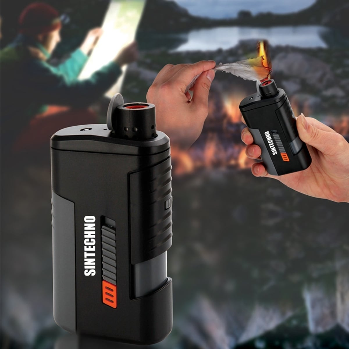SINTECHNO Windproof Lighter with Power Bank and LED Flashlight