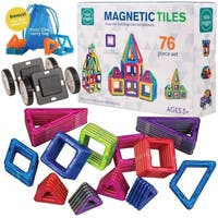MISS SUGGIE Superior Quality 76 Piece Magnetic Tiles Building Toy Blocks and Car Set for Kids
