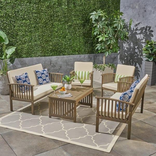 Prime Shop Carolina Outdoor Acacia Wood 6 Seater Conversation Set Machost Co Dining Chair Design Ideas Machostcouk