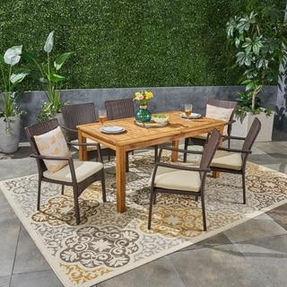 Davenport Outdoor 7 Piece Wood and Wicker Expandable Dining Set by Christopher Knight Home