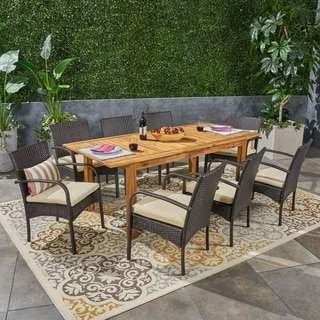 Elmar Outdoor 9 Piece Wood and Wicker Expandable Dining Set by Christopher Knight Home