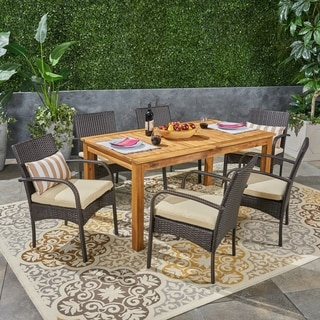 Elmar Outdoor 7 Piece Wood and Wicker Expandable Dining Set by Christopher Knight Home