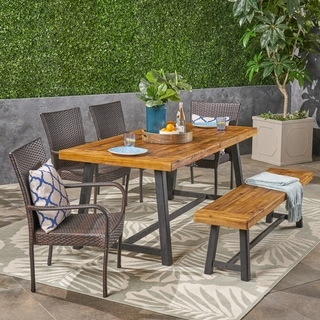 Baxley Outdoor 6 Piece Wood and Wicker Dining Set with Stacking Chairs and Bench by Christopher Knight Home