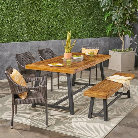 Brecken Outdoor 6 Piece Wood and Wicker Dining Set with Stacking Chairs and Bench by Christopher Knight Home