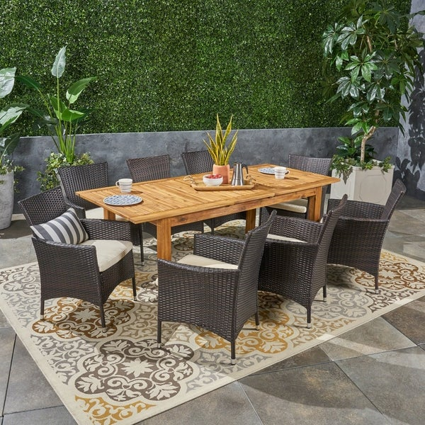 Nadia Outdoor 9 Piece Wood and Wicker Expandable Dining Set by Christopher Knight Home