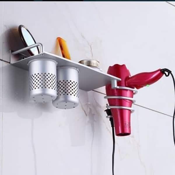 Wall-mounted Hair Dryer Rack Holder Bathroom Hair Dryer Shelf B2G7