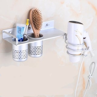 Bathroom Wall Mount Space Aluminum Hair Dryer Shelf Comb Rack Storage Holder