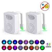 UV Sterilizer Toilet Night Light 16 Colors Changing Toilet Seat Light Two Pack - White