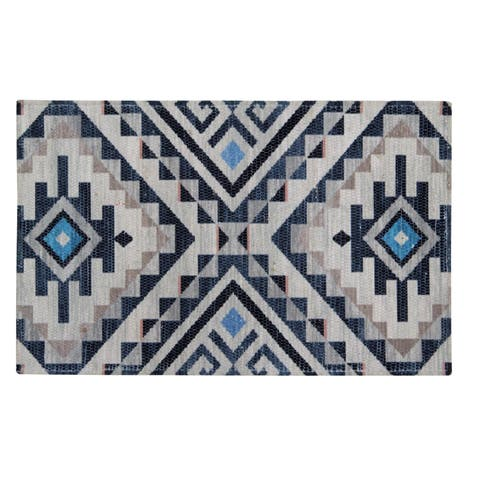 "Kapsos Recycled Material Handwoven Printed Kitchen Mat - 2'1"" x 3'4"""