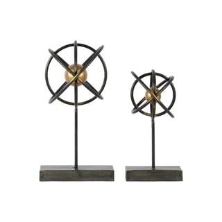 Metal Atom Table Top Sculpture On Rectangular Stand, Set of 2, Black