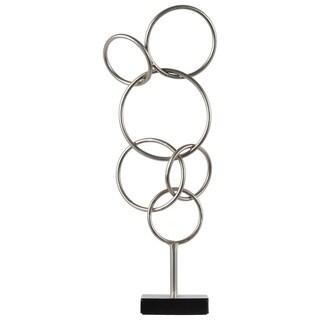 Cascading Interlooping Circles Metal Sculpture on Square Base, Metallic Silver