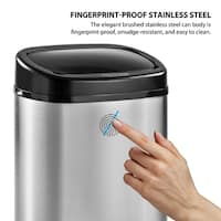 Harper&Bright Designs 13-Gallon Touchless Stainless Steel Cylindrical Sensor Trash Can