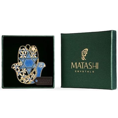 Hanging Hamsa Dove & Flowers WallDecor Ornament w/Matashi Crystals