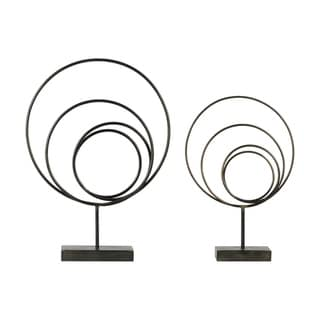Round Metal Abstract Sculpture On Rectangular Stand, Set of 2, Gunmetal Gray