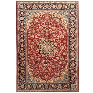Handmade Herat Oriental Persian Hand-knotted Isfahan Wool Rug (7'6 x 11')