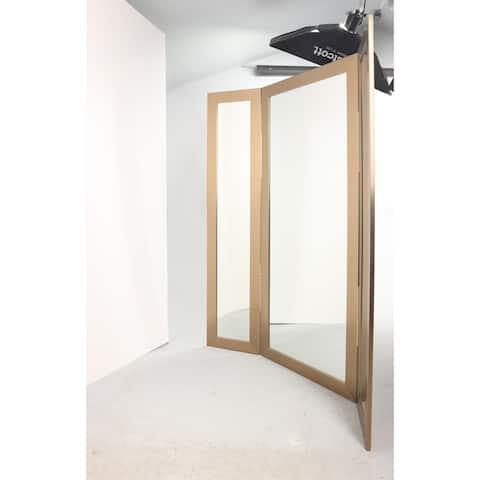 Champaign Tri-Fold Dressing Mirror - Champagne - 64 x 71