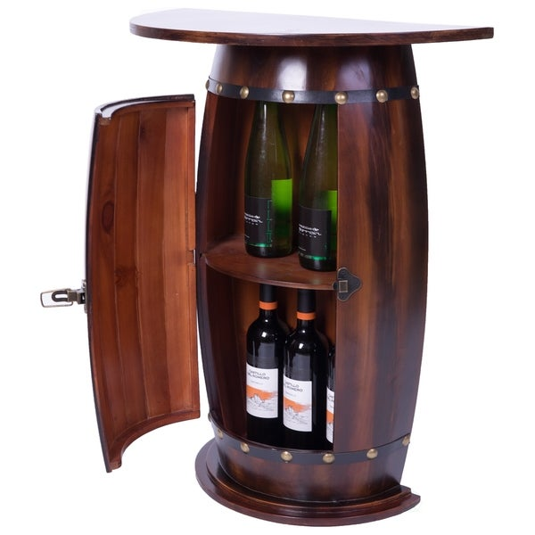 Wooden Wine Rack Console, Bar End Table Lockable Cabinet