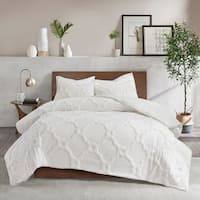 Madison Park Nollie Cotton Chenille Geometric King - Cal King Size Comforter Set in White (As Is Item)