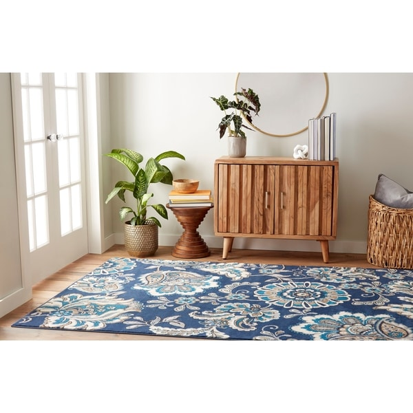 Shop Tremont Floral Navy Blue Area Rug By Home Dynamix 3