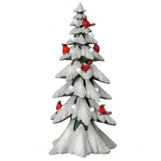 "20"" Led Battery Operated Flock Tree W/Cardinals - multi"