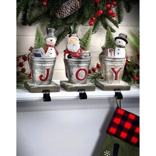 "10""Snowman/Santa Bucket ""Joy"" Stocking Holder 3 Piece Set - multi"