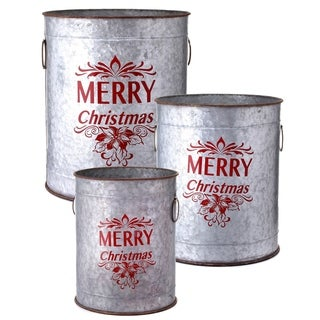 """12-17"""" """"Merry Christmas"""" Container - grey"""