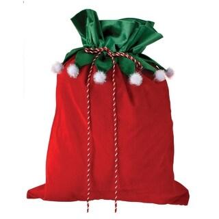 """29"""" Velvet Elf Collar Toy Sack - RED"""