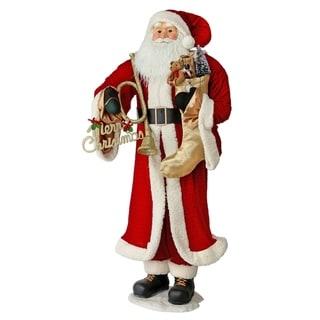 """60"""" Velvet& Fur Santa Holding Wreath & Stocking - Red"""