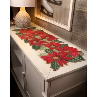 "13""X36"" Multi Poinsettia Glass Beaded Runner - RED"