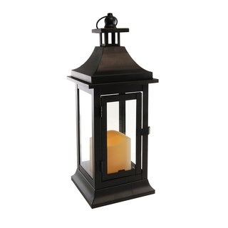 Classic Small Metal Lantern with LED Candle- Matte Black