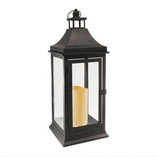 Classic Tall Metal Lantern with LED Candle- Matte Black