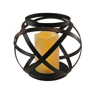Banded Metal Lantern with LED Candle- Black